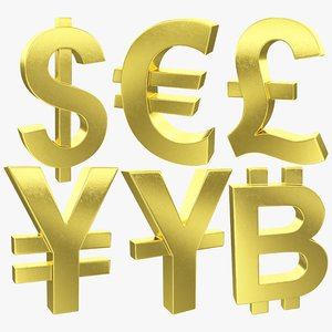 currency symbols bitcoin 3D model