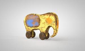 3D toy wooden elephant ussr