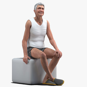 3D model old man underwear rigged