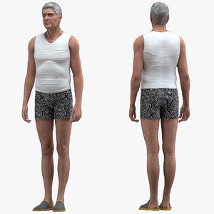 3D old man underwear rigged
