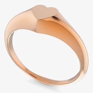 3D ring signet heart model