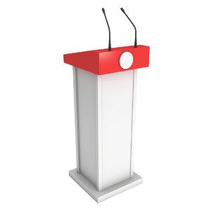 3D model speaker podium white red