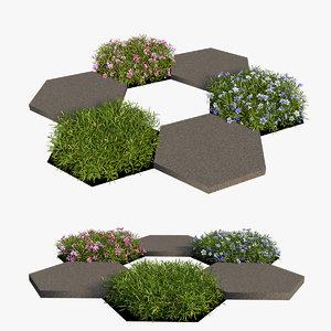 3D plant flower set 14 model