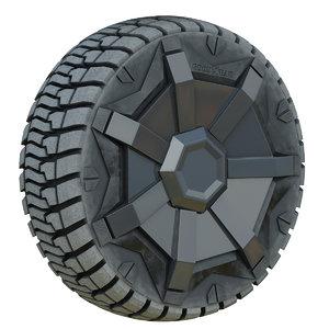 3D dusty tesla cybertruck wheel model