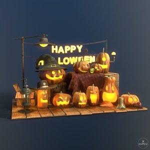 3D happy halloween pumpkins scene