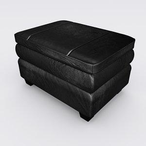 gray leather ottoman 3D model