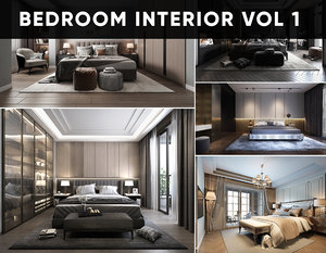 3D room bedroom bed