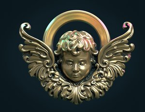 3D angel bas-relief