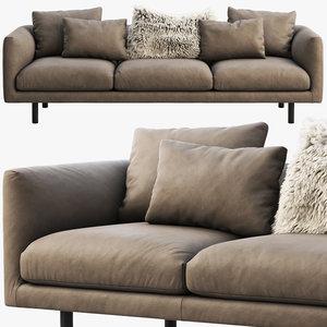 eq3 replay leather sofa 3D model