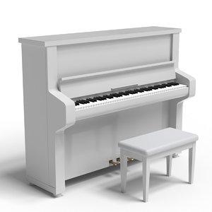 simple white piano 3D model
