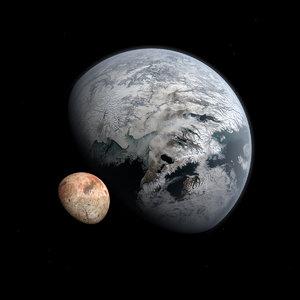 3D fictional alien ice planet