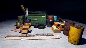 3D dumpster pallets dustbin barrels model