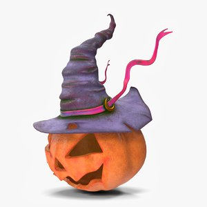 3D witch hat pumpkin face model