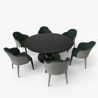 Fendi Dining Table Chair Set - Black Green - PBR