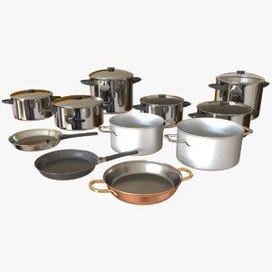 3D model cookware set pan