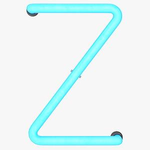 3D model neon letter z alphabet