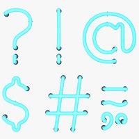 Neon Punctuation Marks