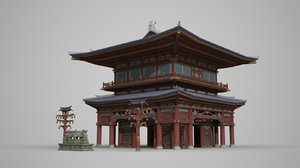 ancient two-tier palace 3D model