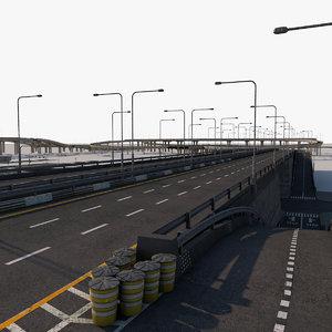 3D road city street