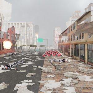 3D model cartoon robot ruined city