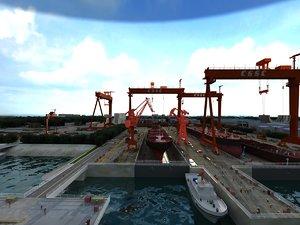 3D model dock port logistics cargo ship