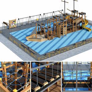 children playground pirate ship 3D