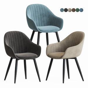 3D herbert blue velvet chair model