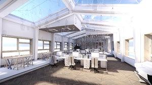 scene industrial office attic 3D