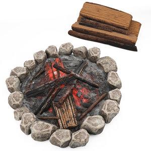 cartoon campfire wood stack 3D model