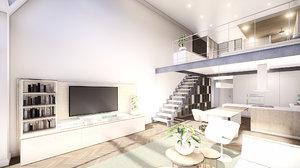 3D scene modern duplex apartment model