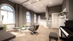 3D scene bachelor studio apartment model