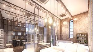 scene intimate cafe bar 3D model