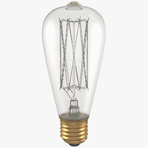 3D st64 vintage edison light bulb model
