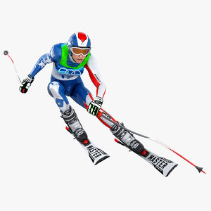 female skier animation 3D model