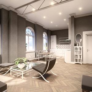 scene bachelor studio apartment 3D model