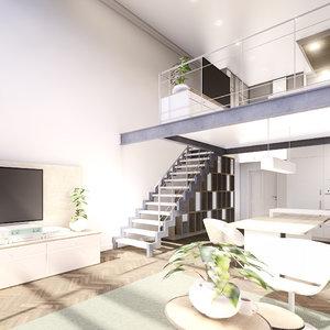scene modern duplex apartment model