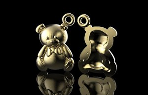 bear piercing jewelry 3D model