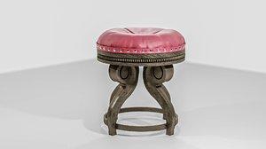 classic wooden stool 3D model