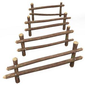3D wooden fence nails model