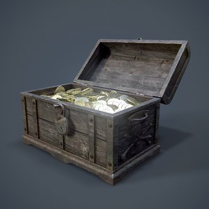 3D pirate treasure coins chest model