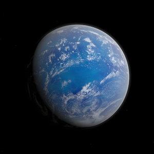 fictional alien water planet 3D