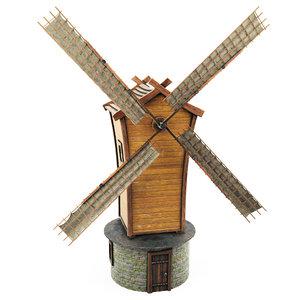 wooden windmill cartoon 3D model