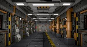 industrial sci fi interior scene 3D