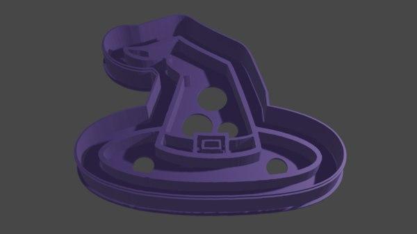 model 3D topi penyihir pemotong kue