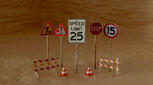 road signs roadpack 3D model