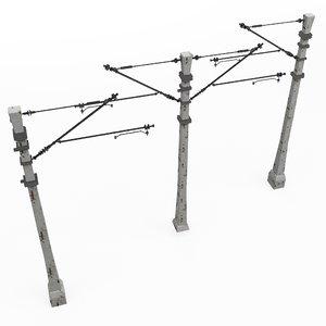 3D model train pole