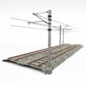 3D track train pole model