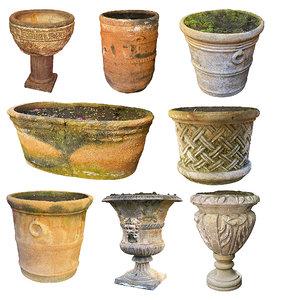 3D ancient flower pots pack