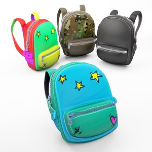 backpack school cartoon rigged 3D model