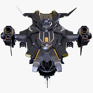 3D gunship spaceship rigged battlecruiser